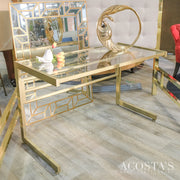 Glass and Metal Writing Desk - Acosta's Home