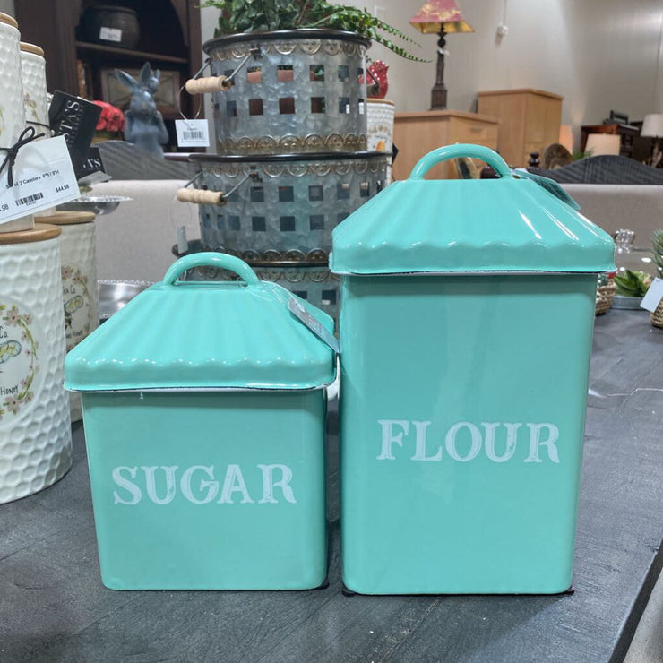 Set of 2 Metal Flour & Sugar Canisters - Acosta's Home