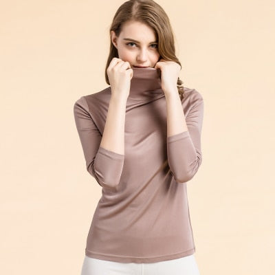 Natural Silk Turtleneck T-Shirt - Bold & Fierce