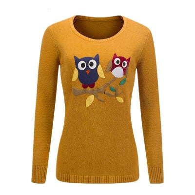 Owl Pattern Long Sleeves Sweater - Bold & Fierce