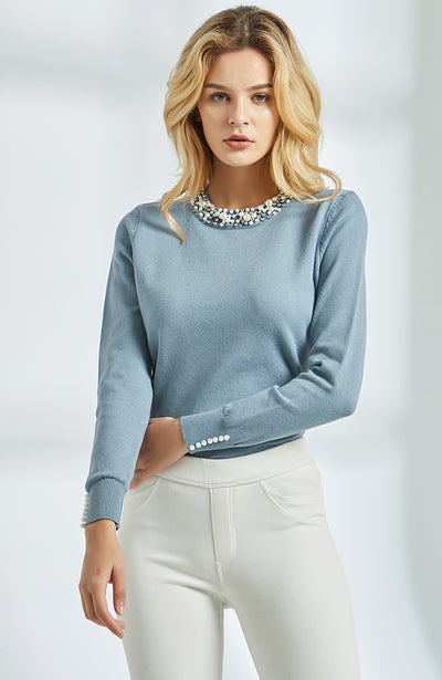 Pearl Beaded Knitted Sweater - Bold & Fierce