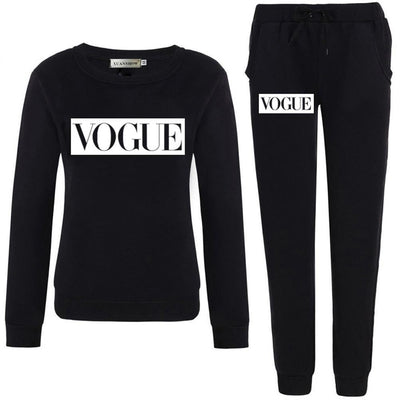 VOGUE Letter Print Sweatshirt+Pants Suit - Bold & Fierce
