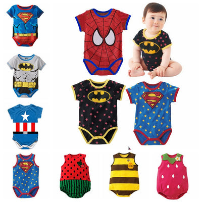 Spiderman Batman Cartoon Baby Rompers - Bold & Fierce