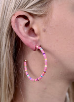 Pink Beaded Post Hoop Earring