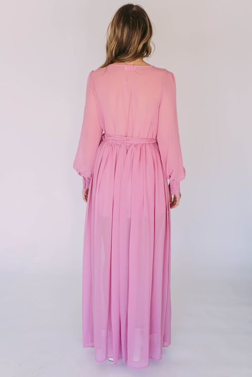 What A Doll Mauve Maxi Dress