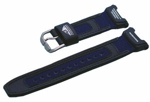 Casio Blue/Black Watch Band Nylon Canvas/Leather Strap ProTrek PAG-240B-2 PAG-40
