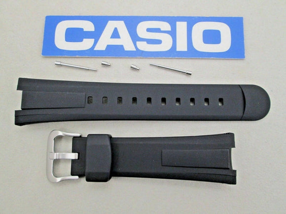 Genuine Casio 10447496 EF-305 black resin rubber watch band strap with pins