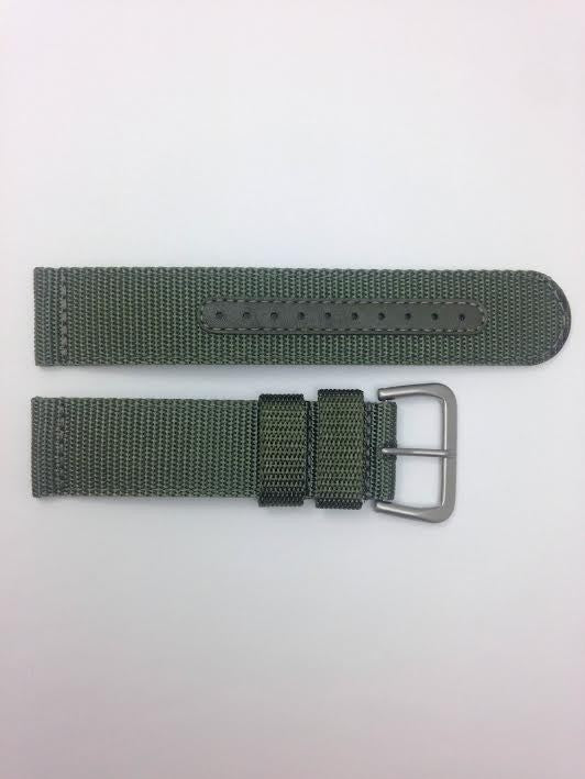Seiko 22mm Military Automatic Green Nylon Watch Band
