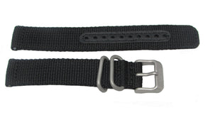 Seiko Black Nylon Watch Band 18mm