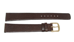 Seiko Dark Brown Leather Lizard Grain Watch Band 18mm