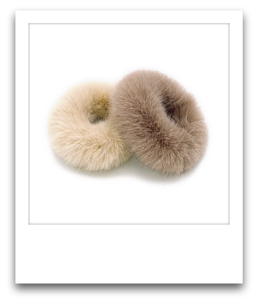 Pair of Fluffy Scrunchies  |  Cream / Brown