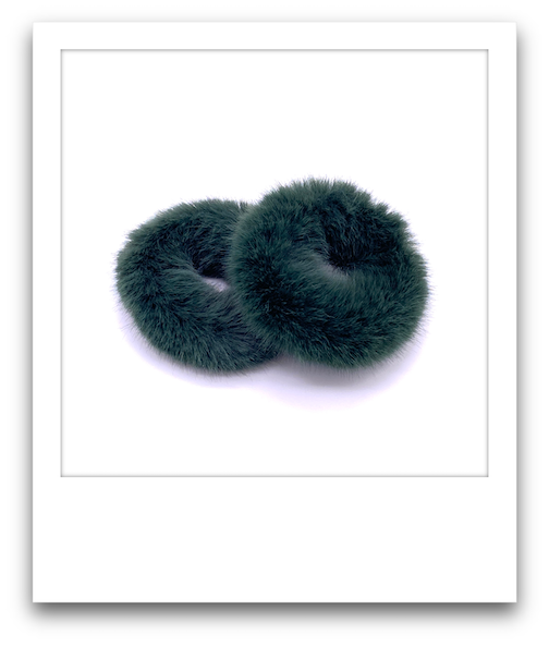 Pair of Fluffy Scrunchies  |  Dark Green