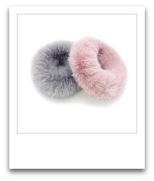 Pair of Fluffy Scrunchies  |  Pink / Light Grey