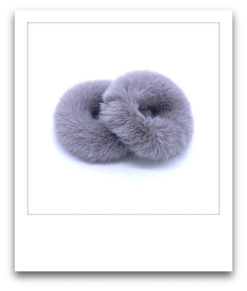 Pair of Fluffy Scrunchies  |  Light Grey