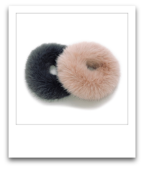 Pair of Fluffy Scrunchies  |  Peach / Dark Grey