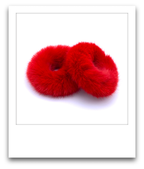 Pair of Fluffy Scrunchies  |  Red