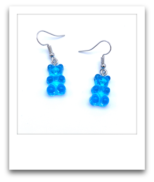 Pair of Gummy Bear Earrings  |  Blue