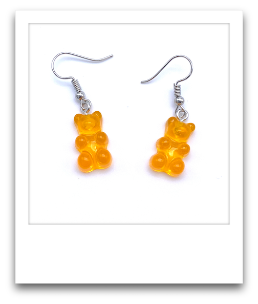 Pair of Gummy Bear Earrings  |  Orange