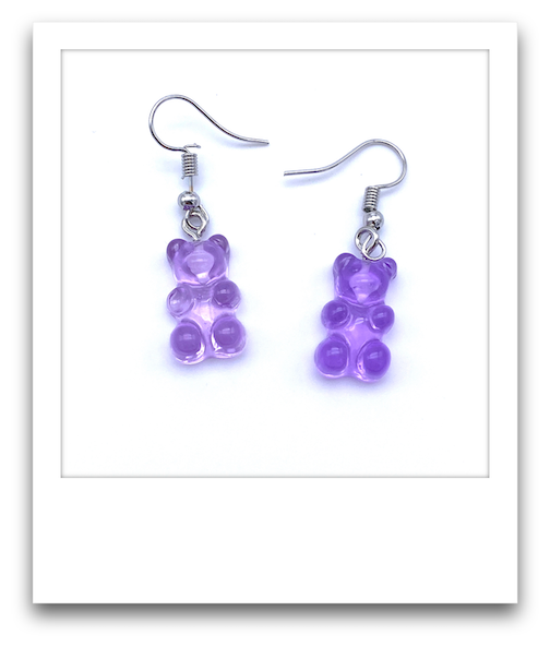 Pair of Gummy Bear Earrings  |  Purple