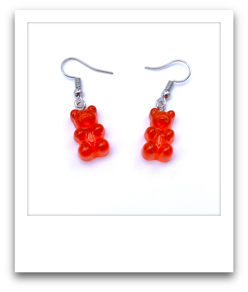 Pair of Gummy Bear Earrings  |  Red