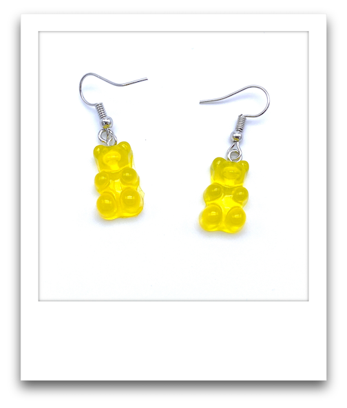 Pair of Gummy Bear Earrings  |  Yellow