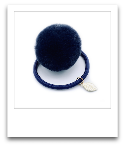 Pom Pom Hair Tie  |  Navy Blue