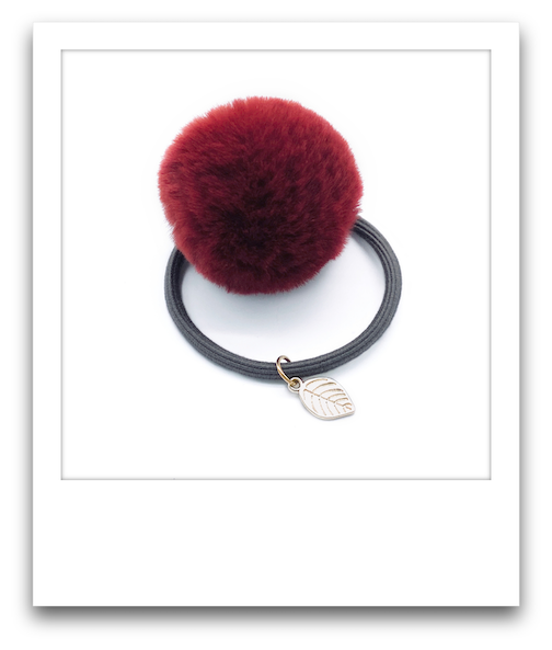 Pom Pom Hair Tie  |  Red
