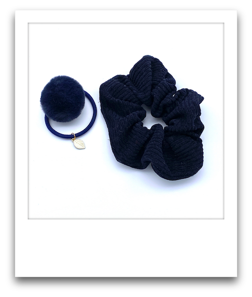 School Scrunchie Hair Tie Combo  |  Navy Blue