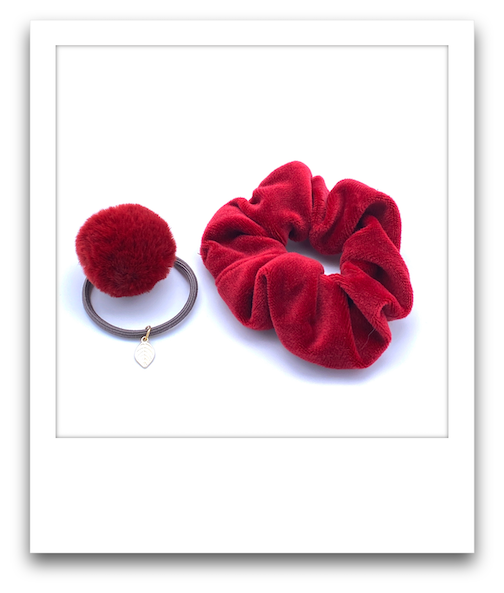 School Scrunchie Hair Tie Combo  |  Red