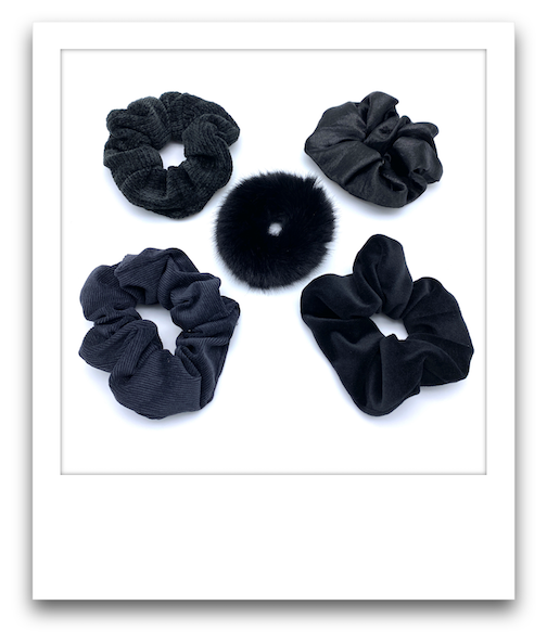 Pack of 5 Scrunchies  |  Black