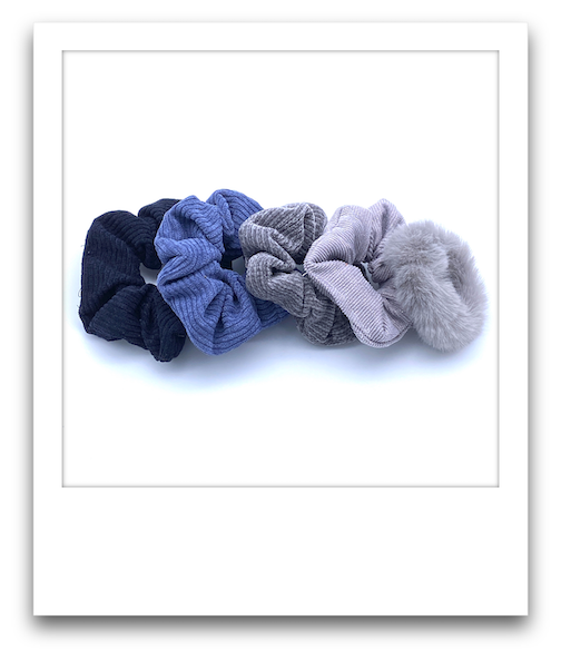 Pack of 5 Scrunchies  |  Greys / Blues