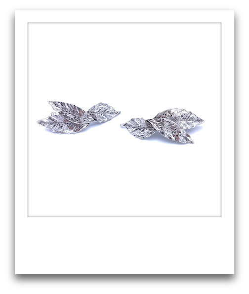 Pair of Silver Leaf Barrettes