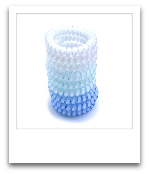 Pack of 9 Spiral Hair Ties  |  Blue