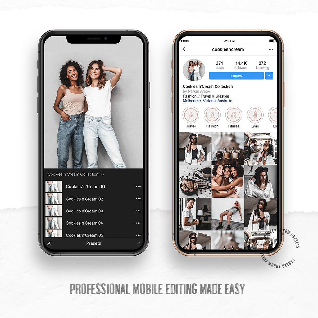 Minimal Instagram with high contrast look and tanned skin tones