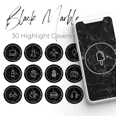 Black Marble Pack - 30 Instagram Highlight Covers