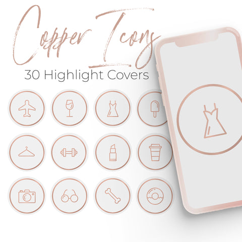 Rose Copper Icons - 30 Instagram Highlight Covers
