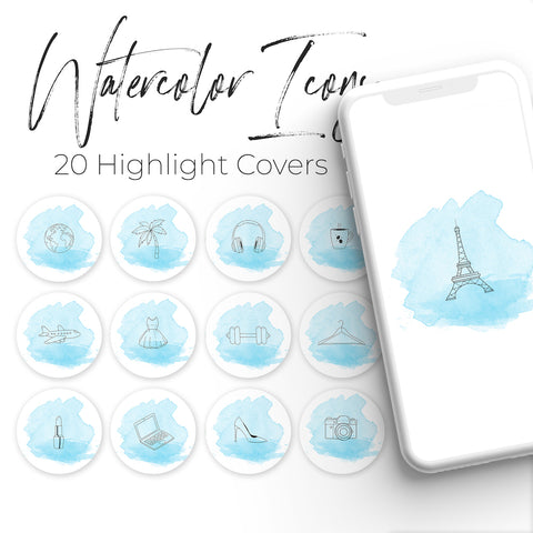 Watercolor Pack - 20 Instagram Highlight Covers