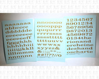 Lowercase Extended Roman Letter Number Alphabet - Decal - Choose Size and Color