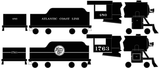Atlantic Coast Line ACL Steam Locomotive White - Decal