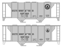 Baltimore and Ohio 70 Ton Covered Hopper Black  - Decal