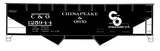 Chesapeake and Ohio Offset Twin Hopper White C&O (1954-1957) - Decal