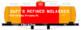 Duff's Refined Molasses Early Tank Car White - Decal