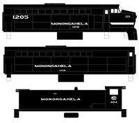 Monongahela Railway Baldwin Diesel White S12 Shark - Decal