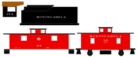 Monongahela Steam Locomotive and Caboose White - Decal