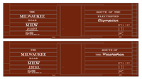 Milwaukee Road 40 Ft Boxcar White Olympian / Hiawatha - Decal