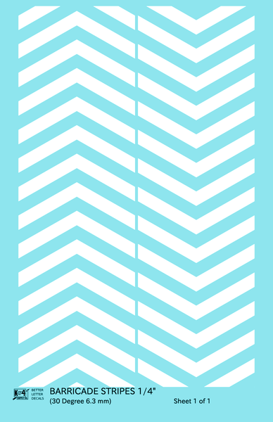 30 Degree Diagonal Barricade Stripes - Decal Sheet