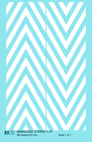 60 Degree Diagonal Barricade Stripes - Decal Sheet