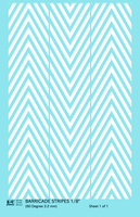 60 Degree Diagonal Barricade Stripes - Decal - Choose Size and Color