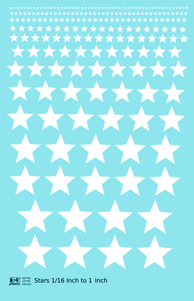 Solid Stars 1/16 Inch to 1 Inch - Decal Sheet