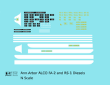 Ann Arbor ALCO FA-2 Or RS1 Locomotive White and Yellow - Decal - Choose Scale